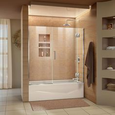 DreamLine Unidoor-X 58 in. W x 58 in. H Frameless Hinged Tub Door in Chrome-D58580-01 - The Home Depot