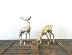 vintage spotted brass deer figurines by compostthis, $35.00 @Etsy