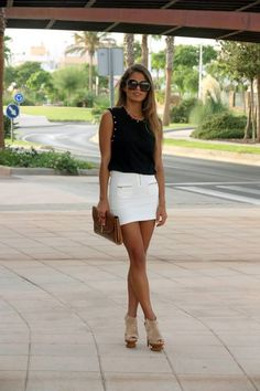 #women #style #fashion #clothing #outfit #skirt #white #black #top #heels #purse #brown #summer