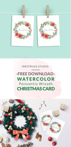 Free Printable Watercolor Wreath Christmas Card  - Inkstruck Studio for Dawn Nicole Designs