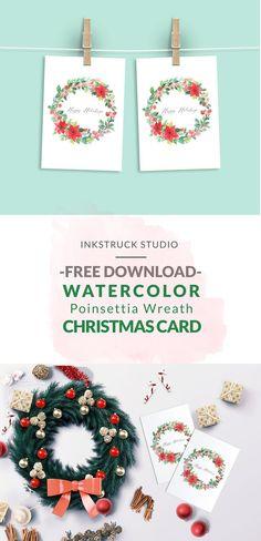 Free Printable Watercolor Wreath Christmas Card  - Inkstruck Studio for Dawn Nicole Designs