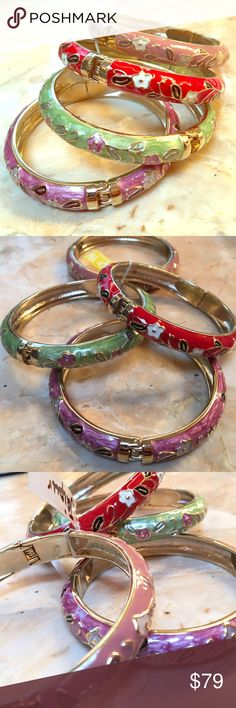 SET OF 4x Beautiful Flower Metal Bangle Bracelets SET OF 4x Beautiful Flower Metal Bangle Bangles Bracelets. 4 different colors, all beautiful. Open slightly to put on wrist. Brand new and never worn, handmade in Tibet Jewelry Bracelets