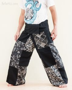 a77a90ad8ca36 Handmade Thai Fisherman Pants Patchwork Wrap Around Trousers (Black SOL11)