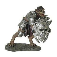 Underworld Werewolf Wolfman Lycan Armored Warrior With Skull Shield Figurine