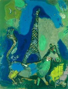Marc Chagall「The Eiffel Marc Chagall, Tour Eiffel, Pablo Picasso, Folklore Russe, Matisse, Chagall Paintings, Illustrations, Paris Illustration, French Artists