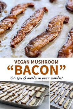 This MUSHROOM BACON is the best vegan option I've ever tasted. It's made with ju… This MUSHROOM BACON is the best vegan option I've ever tasted. It's made with just 3 ingredients, and tastes remarkably authentic. No soy or sugar added! Vegan Dinner Recipes, Vegan Breakfast Recipes, Whole Food Recipes, Cooking Recipes, Bacon Breakfast, Vegan Recipes No Soy, Breakfast Mushrooms, Vegan Eggplant Recipes, Vegan Breakfast Casserole