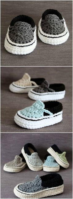 If you are on the hunt for a crochet baby vans pattern, you have come to the right place. We have an assortment of sweet ideas you will love to make. Check them out now. Crochet Baby Shoes, Crochet Baby Booties, Crochet Slippers, Love Crochet, Crochet For Kids, Crochet Clothes, Knit Crochet, Knitted Baby, Baby Knitting Patterns