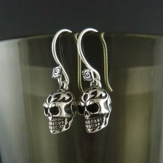 Skull Earrings Antique Silver Tribal by Lost Apostle