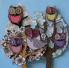 beautiful paper owls