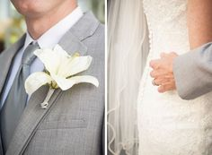 Groom in light gray suit with lily boutonniere.