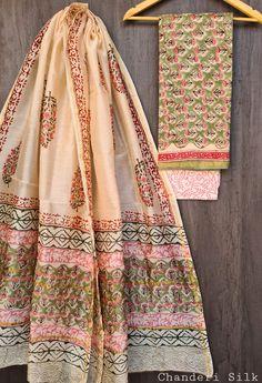 Price Rs 1600 + Shipping extra Hand block Printed chanderi silk dress materials Top and dupattas chanderi silk (2.50×2 mtrs) Bottom cotton (2.50 meters) Chanderi Silk Saree, Silk Sarees, Cotton Dresses, Blouse, Blouses, Woman Shirt, Hoodie, Top