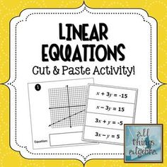 TpT FREE download: Linear Equations Cut & Paste Activity - Determine the equation from graph finding slope and y-intercepts and write in Standard Form.