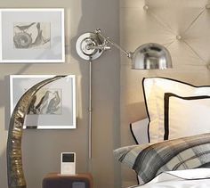 Ben:  Barclay Arc Sconce #potterybarn, polished nickel, notice the cord cover in the photo with the bed