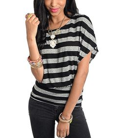 Black & White Stripe Cape-Sleeve Top by Buy in America #zulily #zulilyfinds