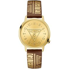 GUESS® Originals Gold-Tone and Brown Watch (40.925 CLP) ❤ liked on Polyvore featuring jewelry, watches, guess watches, vintage looking watches, guess wrist watch, brown jewelry and goldtone jewelry