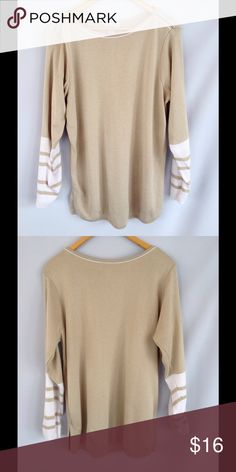 Jaclyn Smith Tan & White Stripe Sweater Cute tan sweater with white stripe detail on sleeves. Excellent condition. Jaclyn Smith Sweaters