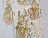 Multiple Blush and Gold Beetle Collage by Laura W Taylor