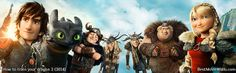 Dualscreen wallpaper from How to train your dragon 2 with Hiccup, Astrid, Toothless, Snotlout, Ruff and Tuff, Fishlegs and their dragons :]