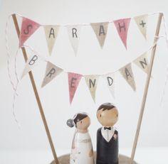 Custom Handwritten Fabric Flags - Custom Rustic Handcrafted Wedding Cake Topper/Decoration Piece. $75.00, via Etsy.