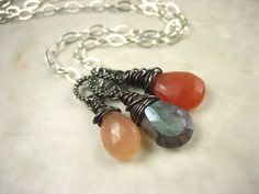 Peach Moonstone Mystic Labradorite Gemstone Sterling by sofoola, $46.00