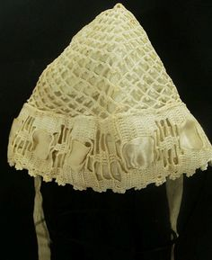 """$ 13.70  FS___Antique Doll Tatting Hat Clothing Christening Bonnet Tatted Knit Lined Thread ___ Hi there...... original early 1900s late 1800s Victorian tatted string child's hat or bonnet. Maybe for a Christening outfit.  This came from an antique doll costume...white...with a lined satin type cloth  It measures 6"""" tall, and interior circumference is approximately 18""""  Very nice condition, the ribbon on the front is cut off"""