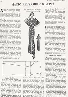 Sewing Vintage: The Magic Reversible Kimono free pattern. This looks easy enough I may try it for winter. Free Sewing, Vintage Sewing Patterns, Clothing Patterns, Motif Kimono, Sewing Tutorials, Sewing Crafts, Tutorial Sewing, Motif Vintage, Vintage Kimono