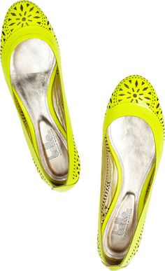 Belle By Sigerson Morrison Andromeda Lasercut Patentleather Ballet Flats in White (yellow) - Lyst