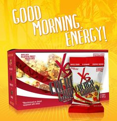 XS® Energy Granola Clusters – Strawberry Almond flavor.   It's Energy for Your Crunch Time.  XS Energy Granola Clusters are a satisfying, energizing breakfast treat that contains gluten-free* rolled oats, almonds, and strawberries infused with B vitamins and taurine. Yummy whole-grain goodness that's low in sugar makes for a perfect on-the-go breakfast or snack option.