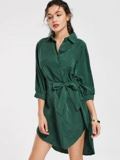 STYLE Autumn Women Solid Bow Knot Belted Shirt Dress Turn Down Collar Three  Quarter Sleeve Casual High Low ...