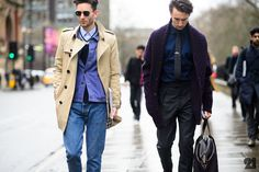 I am so into the whole buttoned denim jacket under a coat/blazer/jacket Look here; seen that a lot in menswear lately. n also the plum sweater