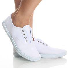 White Canvas Rhinestone Skate Punk Flat Casual Sneaker Womens Shoes