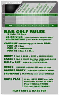 BOULDER bar golf score card