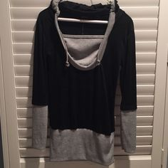 NWT Hooded Top Black and grey!  Bought on posh but was a bit snug - id say more of a small, tho the tag says medium.  Really adorable with hood! Tops