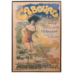 """""""Cabourg,"""" late 19th century poster by Romanian artist Jean de Paleologue (or Paleologu) (1855-November 24, 1942) also known as PAL. He was a Romanian poster artist, painter and illustrator, Painting who often used Pal or PAL as his signature or logo and was active in France and the United States.  Circa 1890's.  59.25 H x 40.75 W"""