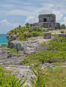 Tulum, Mexico- One of the best-preserved coastal Maya sites, this Pre-Columbian walled city served as a major port. The ruins are situated on 12m tall cliffs, on Yucatán Peninsula on the Caribbean Sea. Tulum was one of the last cities inhabited  by the Mayas; it was at its height between the 13th and 15th centuries and managed to survive about 70 years after the Spanish began occupying Mexico. Old World diseases brought by the Spanish settlers appear to have been the cause of its demise.