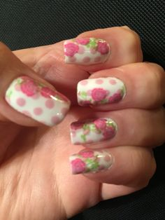 Over white base Sally Hansen Pink A Card dots, ivy stamped with UC 4-02 and NYC High Line Green, roses UC 1-02 and Color Club In Bloom, colored in with Pink A Card. Based on a picture Cutepolish posted.