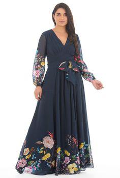 20ee6914864 Feminine pleated floral print georgette maxi dress