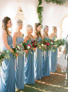 Blue Wedding Flowers - Red French Blue Al Fresco Estate Wedding Dusty Blue Bridesmaid Dresses, Dusty Blue Weddings, Wedding Bridesmaids, Wedding Dresses, Blue Dresses, Light Blue Weddings, Cranberry Bridesmaid Dresses, Bridesmaid Color, Orange Weddings