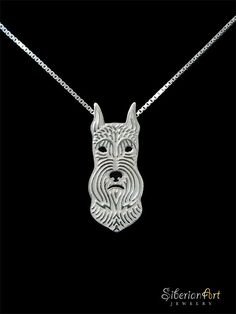 Miniature schnauzer (cropped ears) jewelry - sterling silver pendant and necklace