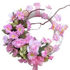 Tavaszi ajtódísz rózsaszín selyemvirágokkal Advent, Floral Wreath, Wreaths, Decor, Crown Cake, Easter Activities, Floral Crown, Decoration, Door Wreaths