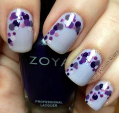 nails with purple dots. Love it!