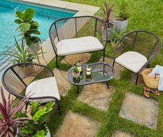 Wilson & Fisher Modern Cushioned Patio Seating All-Weather Wicker Set - Big Lots Outdoor Dining Set, Patio Dining, Patio Chairs, Outdoor Furniture Sets, Outdoor Decor, Outdoor Rooms, Outdoor Fun, Outdoor Living, Patio Seating