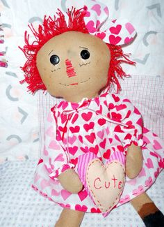 HANDMADE Raggedy Anne Style Primitive Doll Attic by NoJumbledDucks, $25.00