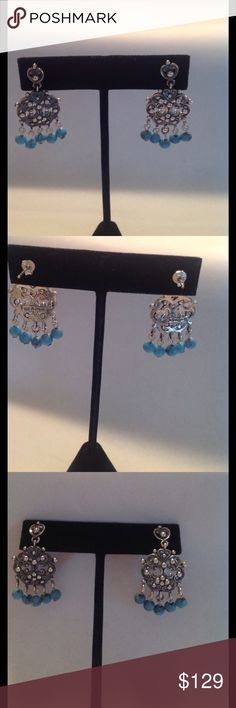 VINTAGE CHANDELIER SS & TURQUOISE EARRINGS These are gorgeous. The design is so feminine and pretty.They are in perfect condition with original backs. They are 1 5/8in in length and almost an inch wide. These are soo pretty on. All Sterling. Jewelry Earrings