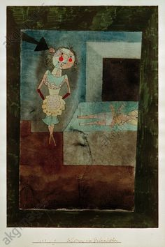 """Selbstmord eines StubenmädchensKlee, Paul 1879–1940. """"Selbstmord eines Stubenmädchens"""" (The Parlour Maid's Suicide), 1923. Pen and watercolour on paper, edges with watercolour and pen, on cardboard,..."""
