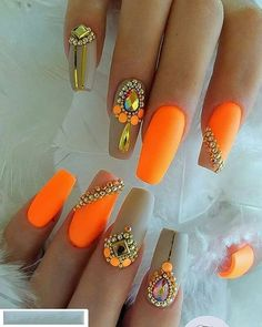 74 Marble Touch Pearl Extreme Nail Arts Designs 2018 - The most beautiful nail designs Nail Art Designs, Orange Nail Designs, Nails Design, Orange Nail Art, Neon Orange Nails, Design Art, Cute Acrylic Nails, Matte Nails, Gel Nails