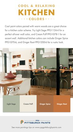 Cool & Relaxing Paint Color Inspiration for Kitchens - Cool paint colors paired with warm woods are a great choice for a kitchen color scheme. Warm Kitchen Colors, Kitchen Colour Schemes, Kitchen Paint Colors, Color Schemes, Color Combinations, Rustic Paint Colors, Wall Paint Colors, Room Colors, Exterior Paint Colors For House
