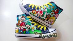 Super Mario Bros custom canvas shoes high tops by DecoroZapatillas