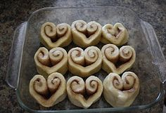 Heart-shaped cinnamon rolls for Valentine's Day.