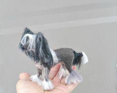 Pet Portrait / Needle Felted Dog /Chinese Crested Lifelike Poseable small size / Personalized gift